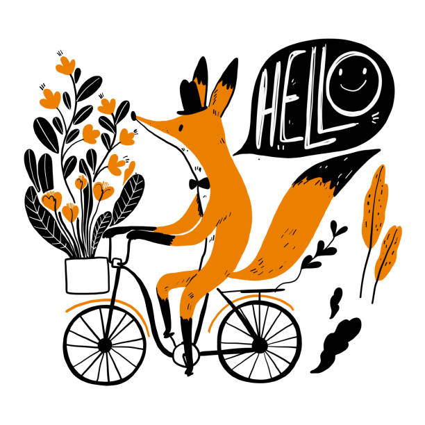 Cute fox riding a bike Cute fox riding a bike, Collection of hand drawn. Vector illustration in sketch doodle style. fox stock illustrations