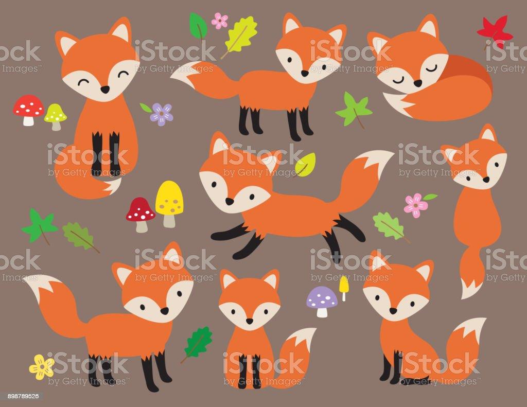 Fox lindo Vector ilustración - ilustración de arte vectorial