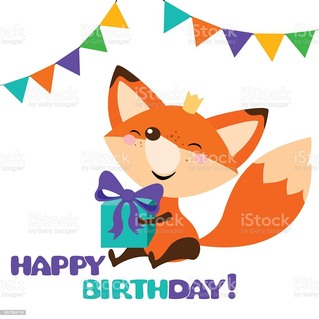 Cute Fox With Bright Gift Happy Birthday Card Design Cliparts