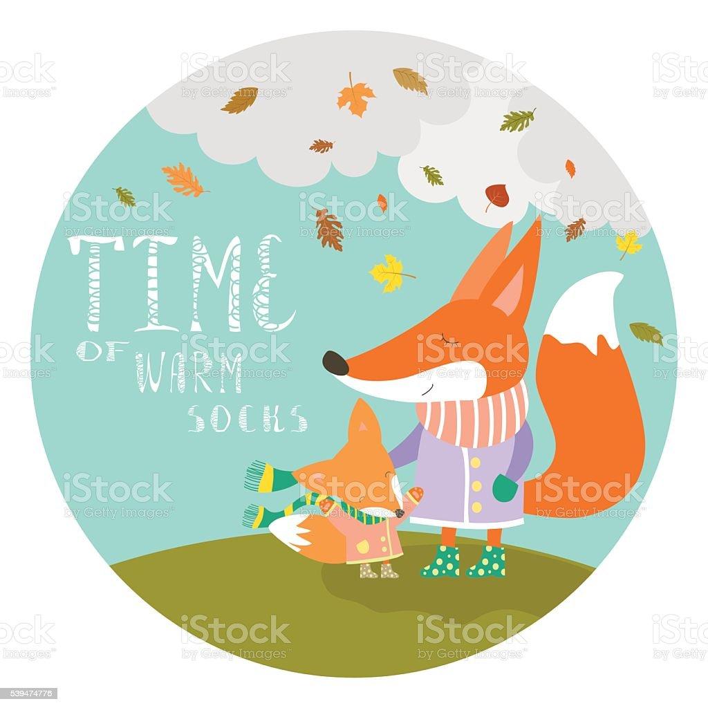 Cute fox with her cub vector art illustration
