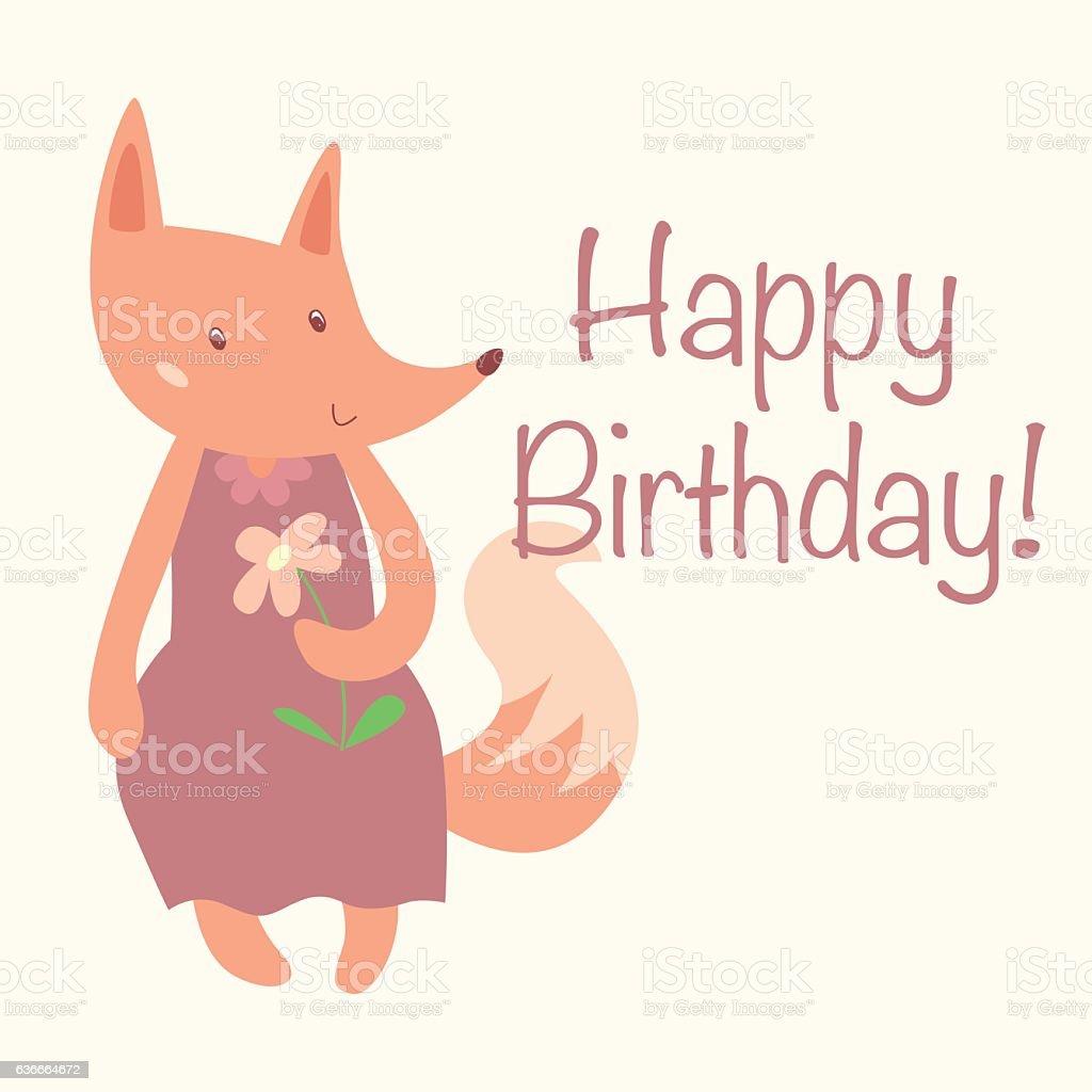 Cute Fox With Text Happy Birthday Card Design Vector Flat Lizenzfreies