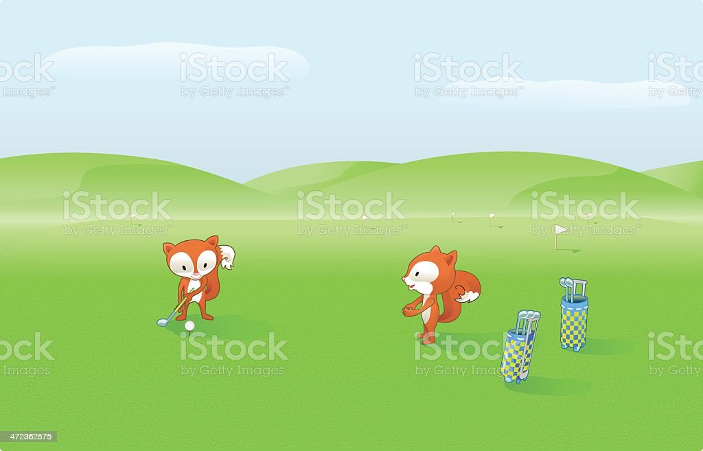Cute Foxes are playing Golf. royalty-free stock vector art