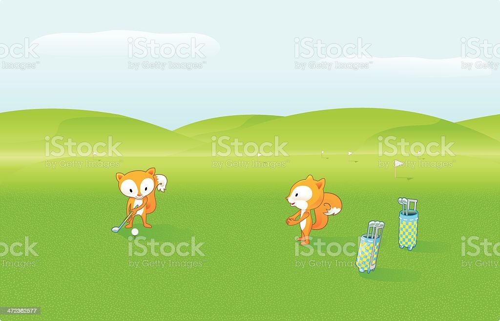 Cute Foxes are playing Golf (orange). royalty-free cute foxes are playing golf stock vector art & more images of animal