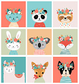 Cute animals heads with flower crown, vector illustrations for nursery design, poster, birthday greeting cards. Panda, llama, fox, koala, cat, dog, raccoon and bunny
