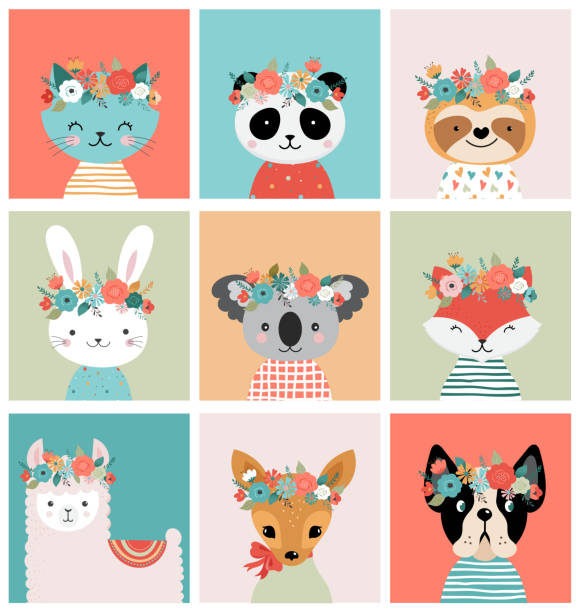 Cute foxes heads with flower crown, vector seamless pattern design for nursery, poster, birthday greeting cards Cute animals heads with flower crown, vector illustrations for nursery design, poster, birthday greeting cards. Panda, llama, fox, koala, cat, dog, raccoon and bunny baby animals stock illustrations