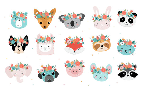 cute foxes heads with flower crown, vector seamless pattern design for nursery, poster, birthday greeting cards - koala stock illustrations