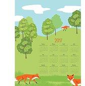 Cute Foxes Landscape 2017 Calendar Vector. Letter size vertical design.