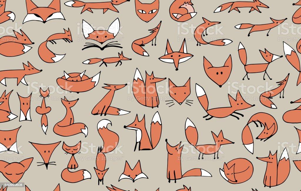 Lindo zorros patrón continuo para su diseño - ilustración de arte vectorial