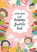 Cute frame composed of children reading books. Vector illustration
