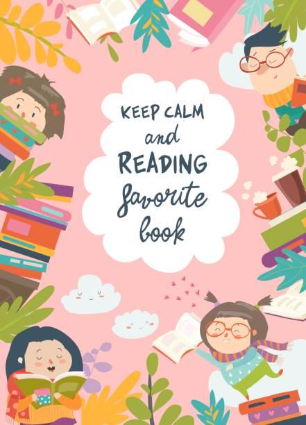 cute frame composed of children reading books - reading stock illustrations