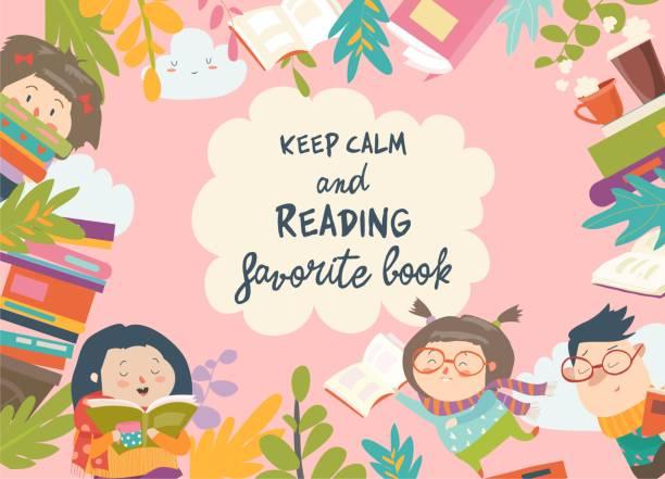 Cute frame composed of children reading books Cute frame composed of children reading books. Vector illustration book borders stock illustrations