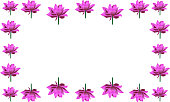 Cute frame of blooming lotuses. In the shape of a rectangle. Pink water lily. Vector. Place for text, photo. Isolated background. The idea for creating a greeting card, invitation. Flower ornament.
