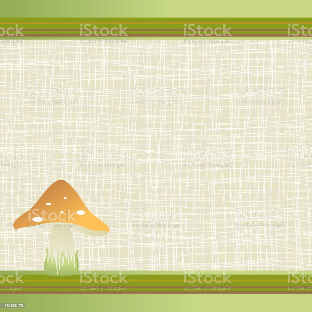 Cute frame with mushroom on the grass royalty-free stock vector art
