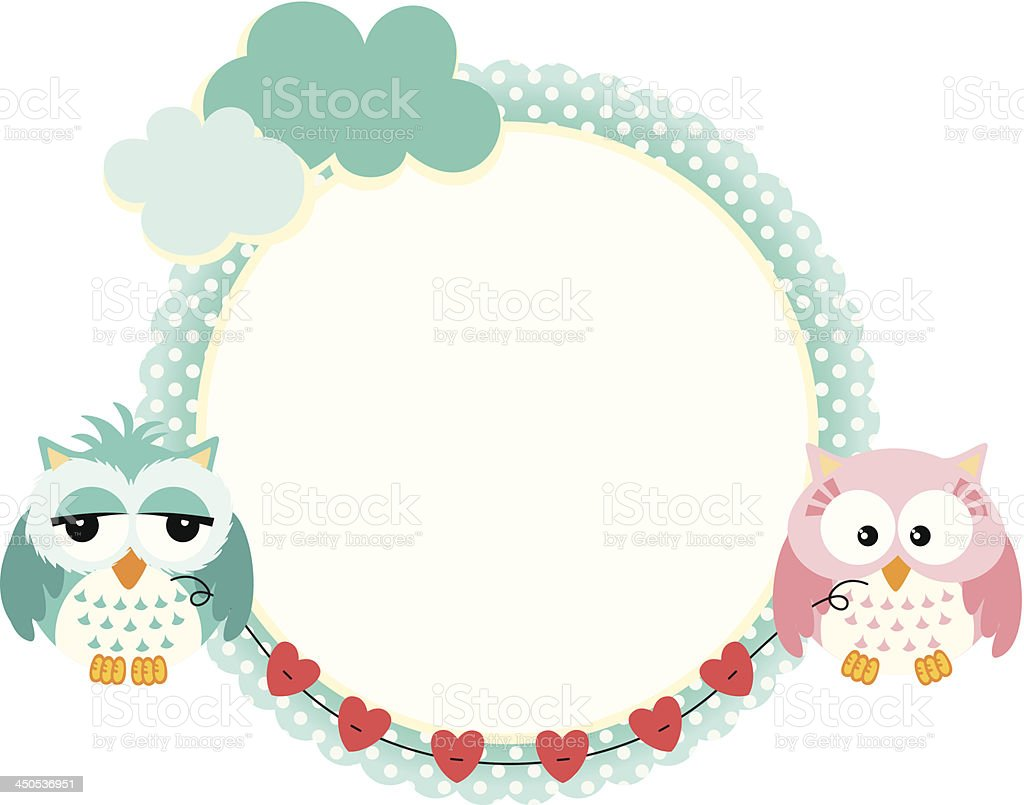 Cute Frame With Owls Couple Stock Vector Art & More Images of Animal ...