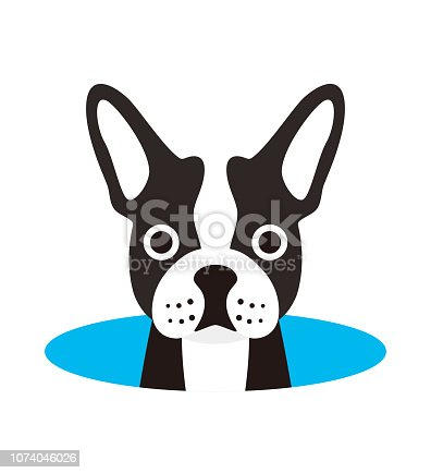 cute French bulldog on the hole,watching  vector illustration