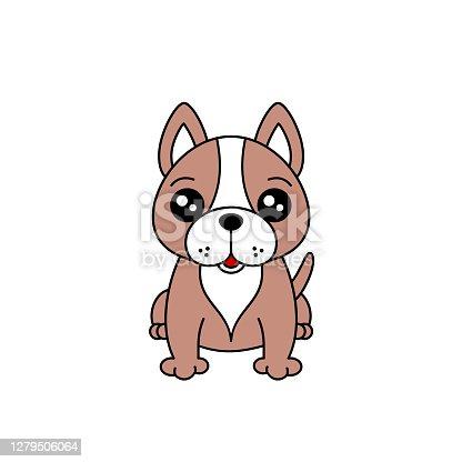 istock Cute French Bulldog sitting. Cheerful fawn frenchy drawing. 1279506064