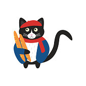 Cute french cat in red beret and red scarf and blue jacket with two baguette. Doodle vector illustration.