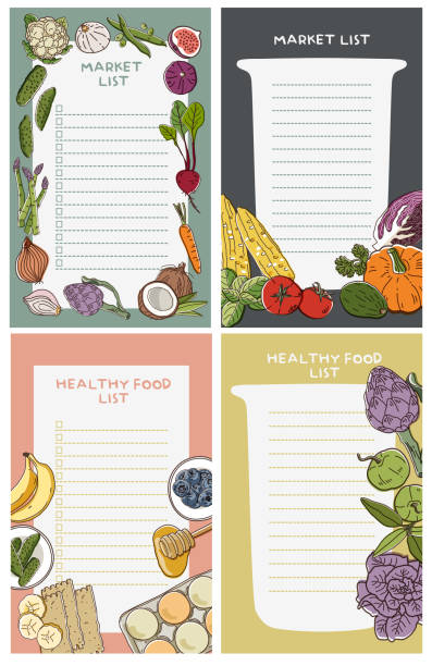 Cute fresh fruit vegetables notebook diary. Notepad stationery Hand drawing Vector cooking borders stock illustrations