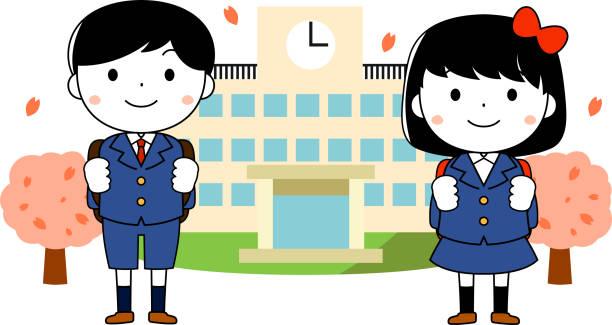 かわいい新入生入学式 - 中学校点のイラスト素材/クリップアート素材/マンガ素材/アイコン素材