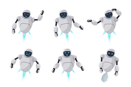 Cute friendly robot character different emotion set. Futuristic chatbot mascot various activity poses. Online bot greets, smile, sad, evil, surprised, think and broken. Tech cartoon illustration