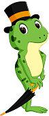cute frog cartoon holding umbrella
