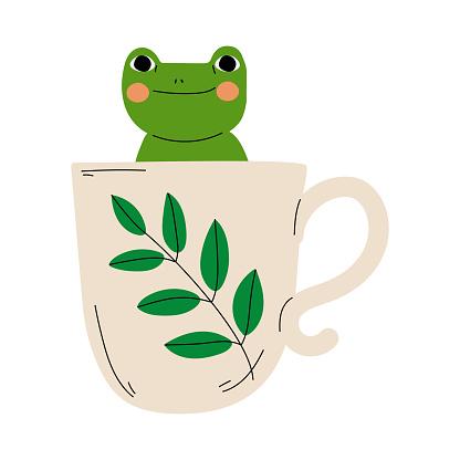 Cute Frog in Teacup, Adorable Little Amphibian Animal Sitting in Coffee Mug Cartoon Vector Illustration