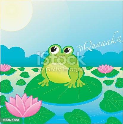 istock cute Frog on a lake with Searoses (moonshine). 490575483
