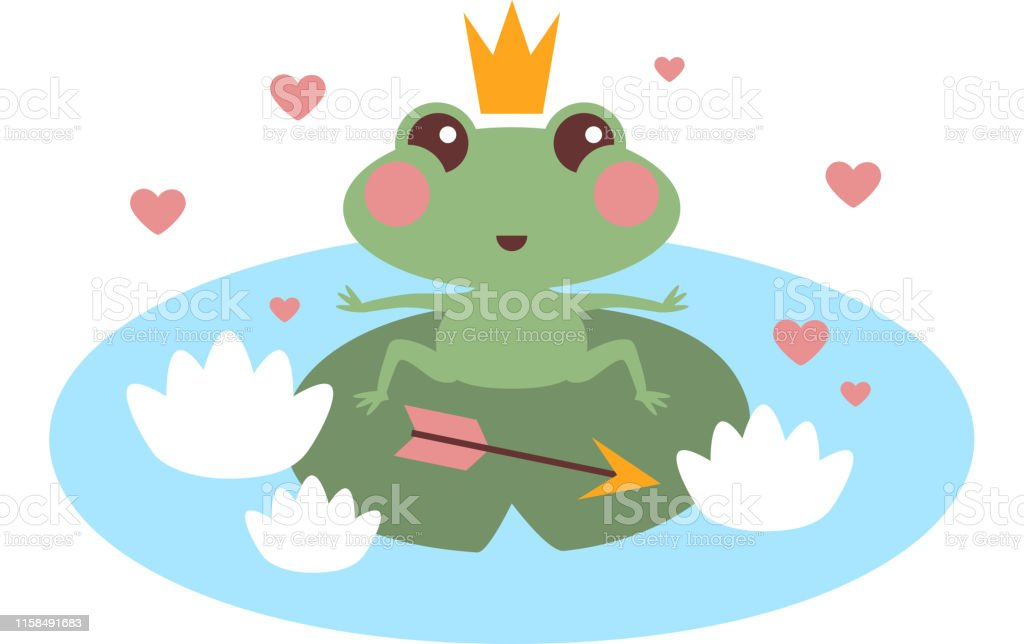 Cute Frog Princess In Love With Crown And Arrow Vector Illustration For Kids Princess Frog With Arrow On Lake Stock Illustration Download Image Now Istock
