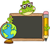 Cute frog teacher with school board and globe