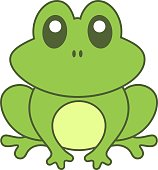 Cute, colorful, cartoon frog with outline vector illustration