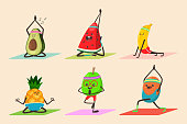 Yoga fruit and vegetable in different poses vector cartoon character set.