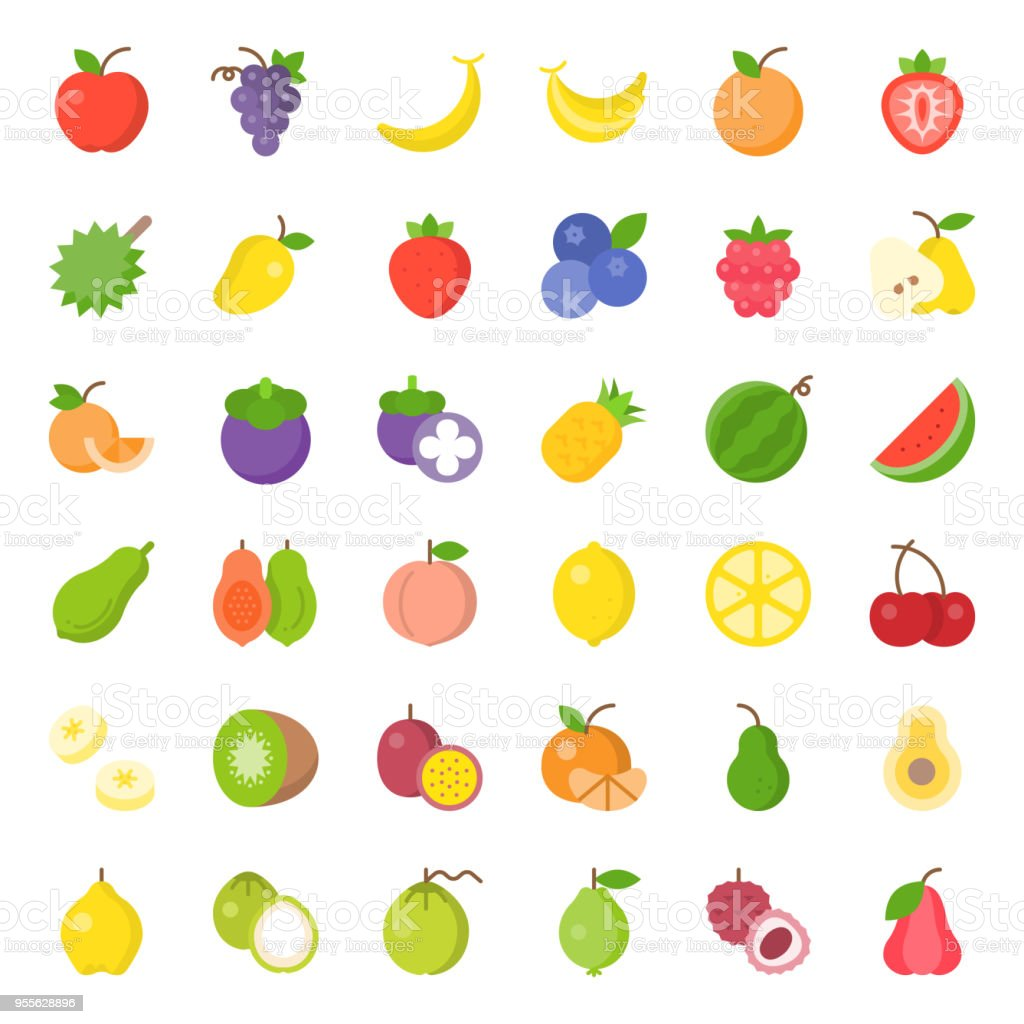 Cute fruit flat icon set, such as orange, kiwi, coconut, banana, papaya, peach, tropical fruits vector art illustration