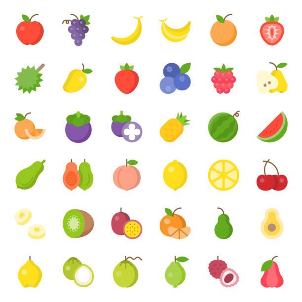 illustrations, cliparts, dessins animés et icônes de jeu d'icônes plat de fruit mignon, comme orange, kiwi, noix de coco, banane, papaye, pêches, tropicales fruits - fruit