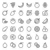 Cute fruit outline icon set, such as orange, kiwi, coconut, banana, papaya, peach, tropical fruits
