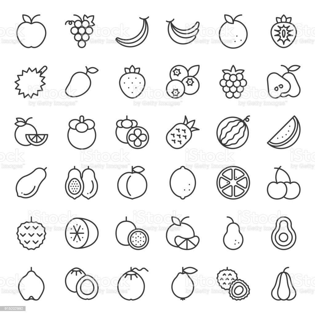 Conjunto de iconos de contorno Linda fruta, como naranja, kiwi, coco, plátano, papaya, frutas tropicales, duraznos - ilustración de arte vectorial