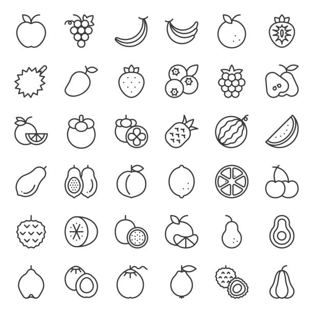 cute fruit outline icon set, such as orange, kiwi, coconut, banana, papaya, peach, tropical fruits - fruit icon stock illustrations, clip art, cartoons, & icons
