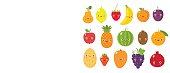 Vector collection of cute fruits and berries in flat style, including apple, plum, pear, banana, mango, apricot, lemon, pineapple and orange, isolated on white.