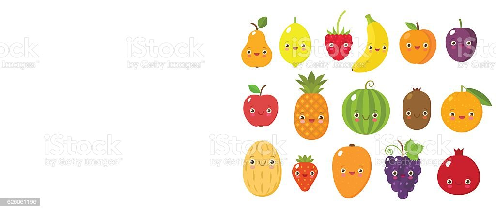 Cute fruits collectoin vector art illustration