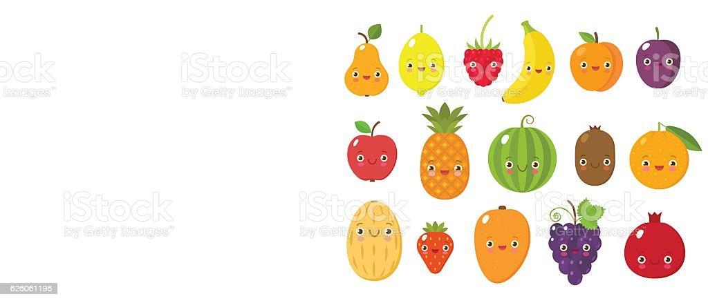 Cute fruits collectoin vector art illustration