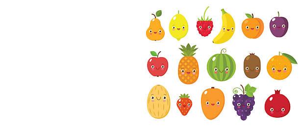 cute fruits collectoin - kindergesichtsfarben stock-grafiken, -clipart, -cartoons und -symbole