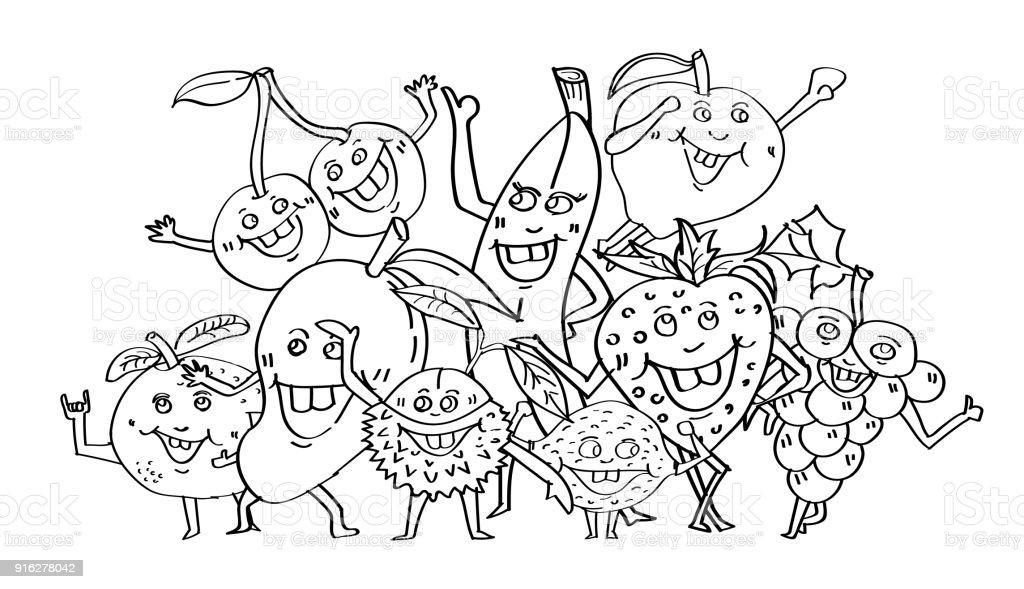 Ilustración de Dibujado A Mano Frutas Lindo Estilo De Carácter De ...