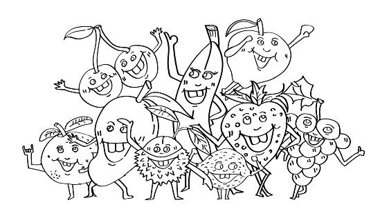 Sevimli Meyve Elle Cizilmis Cizgi Film Karakteri Doodle Stil