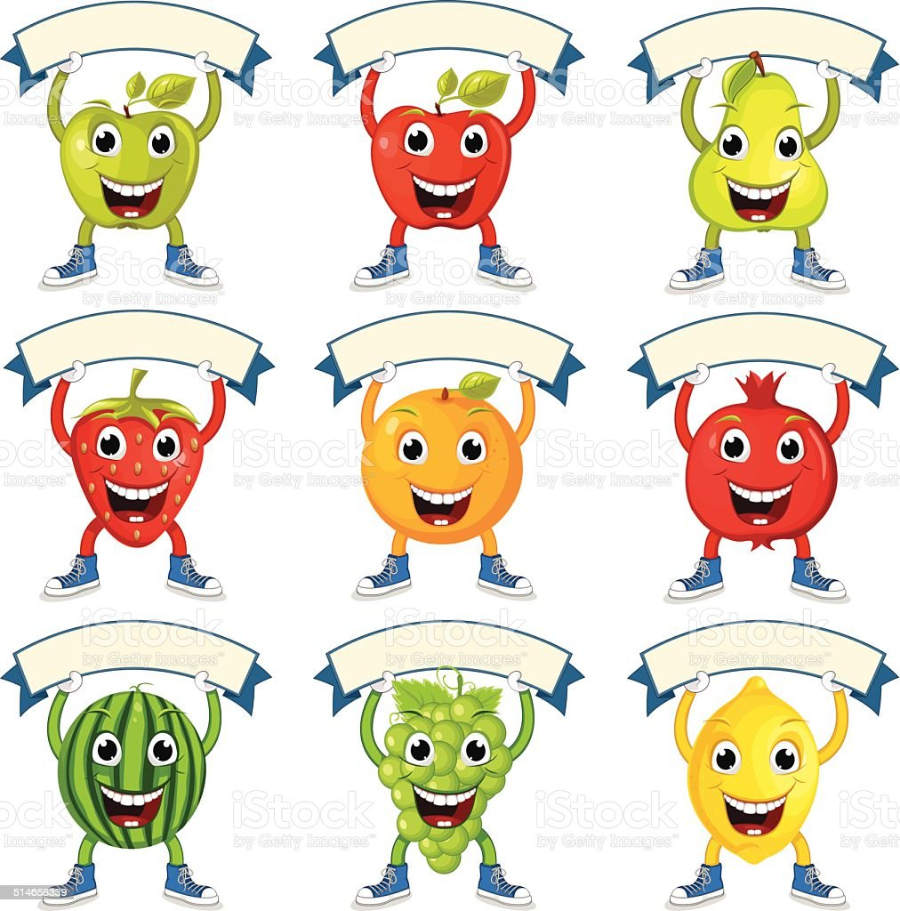 Cute Fruits With Banners Vector Set vector art illustration