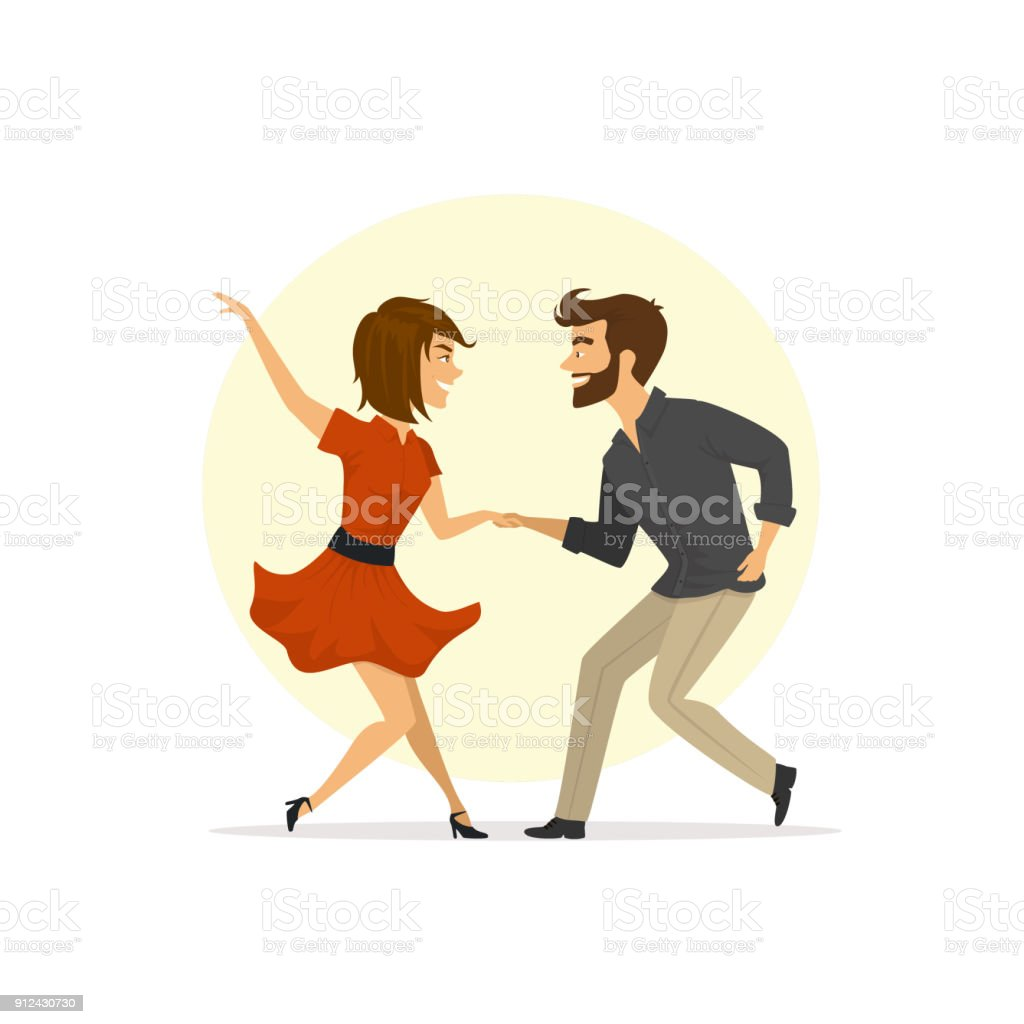 かわいい楽しいツイストを踊るカップル ベクトル イラスト アーリー