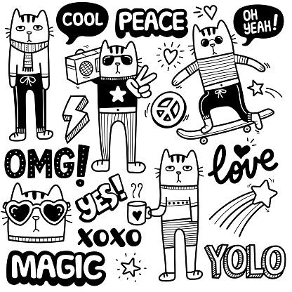 Cute Funky Cat Doodle Illustration