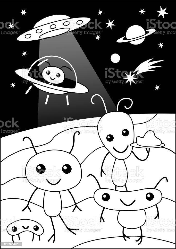 Cute Funny Alien Party Cartoon coloring page - Royalty-free Alien stock vector