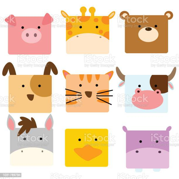 Cute funny animal face pig giraffe bear dog cat dairy cow donkey duck vector id1031789794?b=1&k=6&m=1031789794&s=612x612&h=q4xddfbsg09tv1puth3ckg2666srkty0kezdt67zofg=