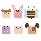 cute funny animal head hamster, rabbit, bee, hippo, cat and dog, cartoon character