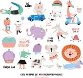 Cute Funny Animals and Motivated Wishes Set