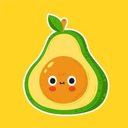 Cute funny avocado face character. Vector flat cartoon kawaii character illustration icon. Avocado face cartoon character logo concept